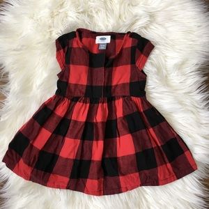 Old Navy Girls Red Flannel Dress 18-24 months